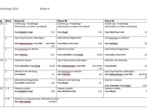 Projekttage Klasse 7 und 8 – Stundenpläne vom 02.05 – 04.05.18