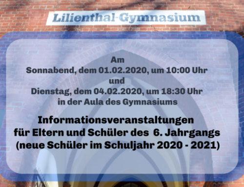 Informationsveranstaltung für Eltern und Schüler des 6. Jahrgangs im Februar 2020
