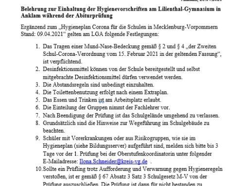 Belehrung Abiturprüfungen 2021 – Hygieneplan